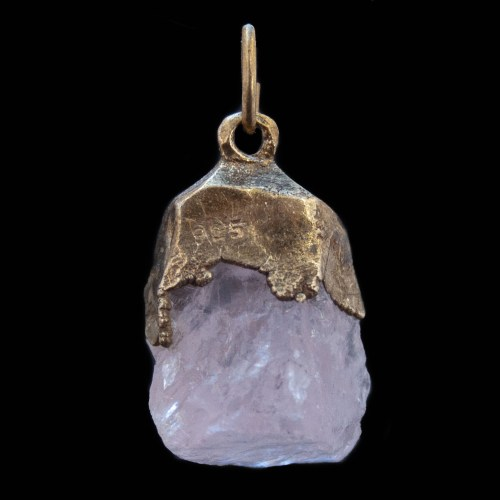 Gold Plated Raw Rose Quartz Pendant