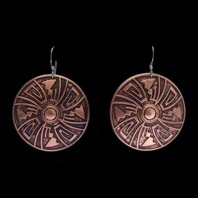 Round Copper Drop Earrings