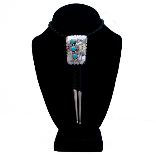 Triple Turquoise Silver Bolo Tie