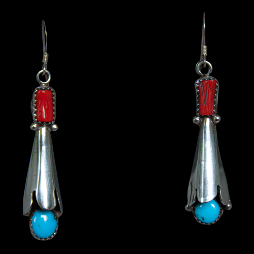 Turquoise Coral Silver Earrings