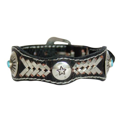 Black Leather Turquoise Bracelet