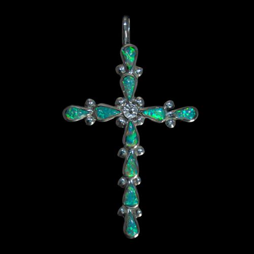 Green Opal Cross Pendant