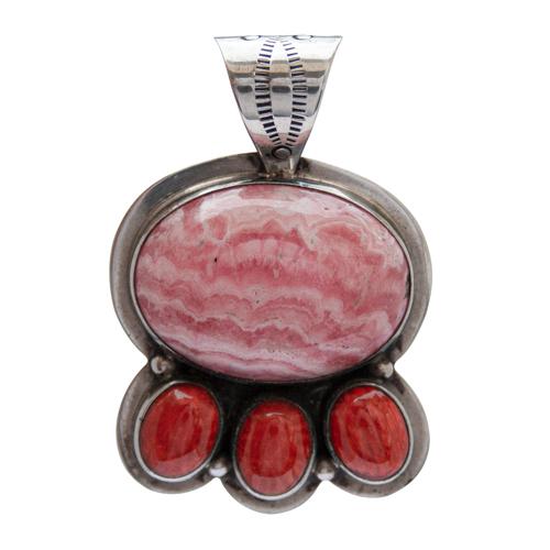 Rhodochrosite Coral Silver Pendant