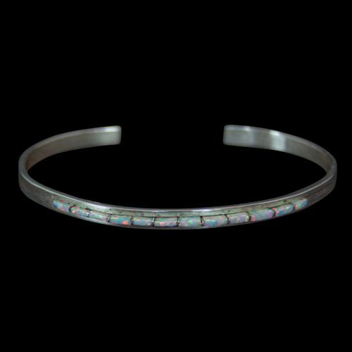 Thin White Opal Bracelet