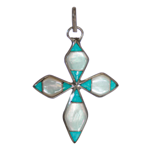 Turquoise Mother-of-Pearl Cross