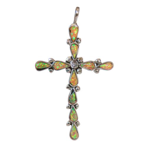 Zuni Yellow Opal Crucifix