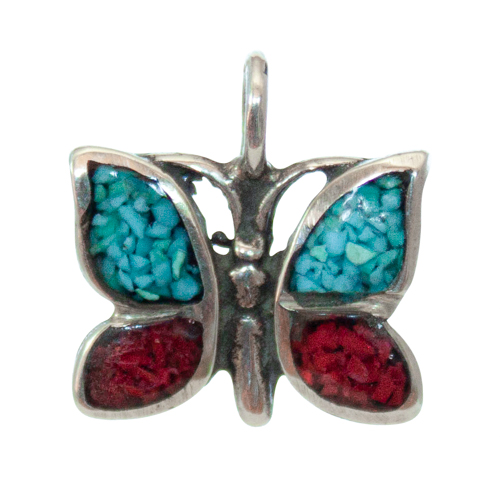 Blue Red Butterfly Pendant