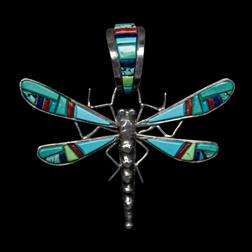 Large Zuni Inlay Dragonfly Pendant