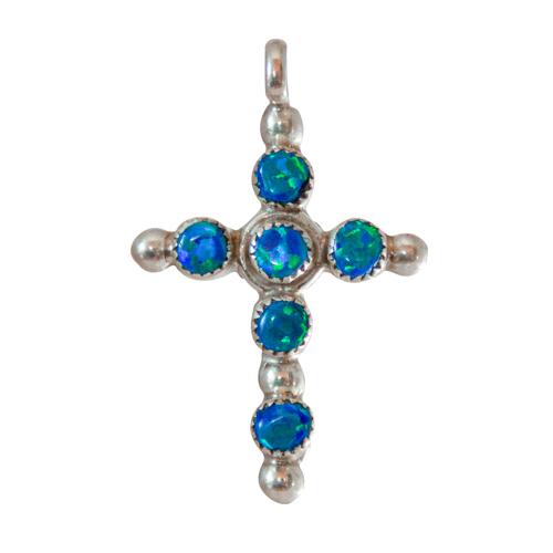 Small Blue Opal Cross