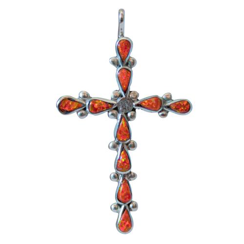 Zuni Orange Opal Crucifix