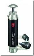 A portable, Katadyn water filtration system