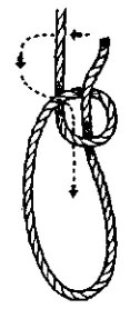 Bowline knot construction Step 2