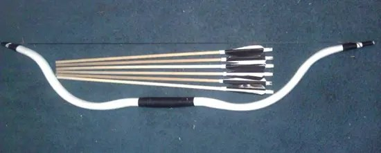 Bow and arrows made from PVC pipe
