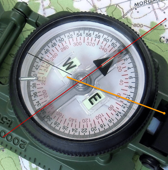 Magnetic compass face showing degrees