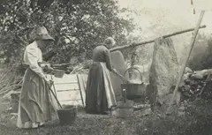 Women in the early 1900's making soap at home