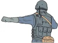Hand signal for line abreast formation