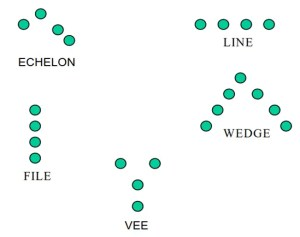 Types of movement formations - echelon, line, wedge, vee