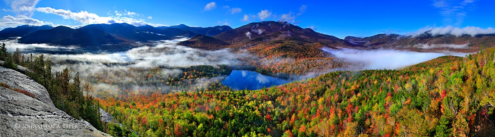 Upstate New York Fall Hd Wallpaper Mt Jo Pano Of Heart Lake And Valley Fog Wildernesscapes