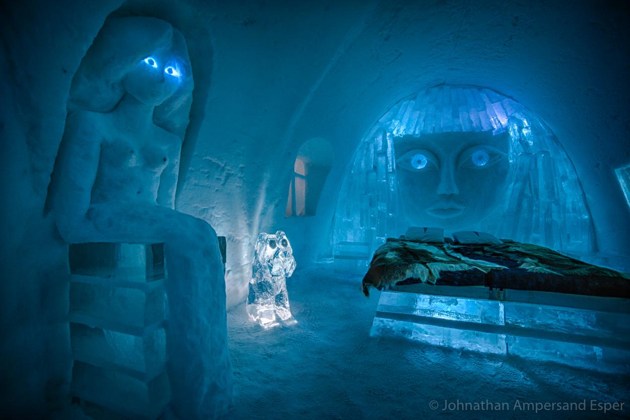 Illuminated Ice Hotel near Kiruna Sweden