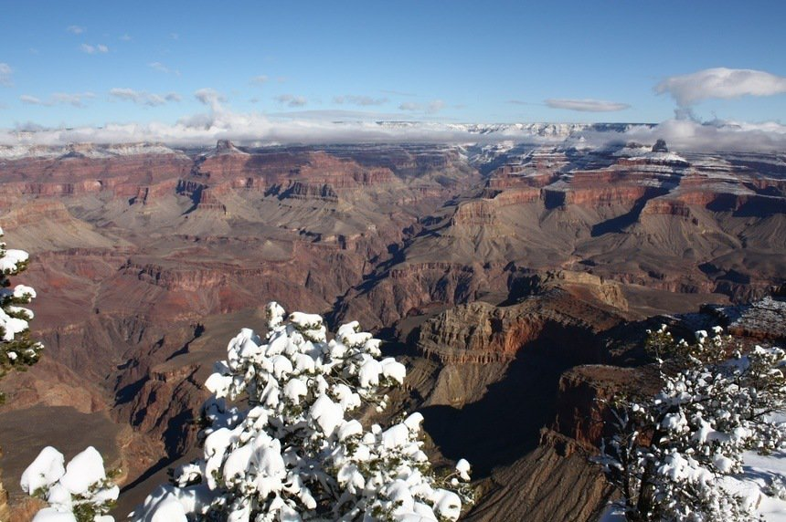 Grand Canyon with snow in winter