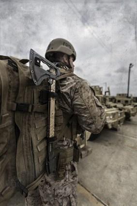 Military Guy Carrying Gerber Downrange Best Tactical Tomahawk