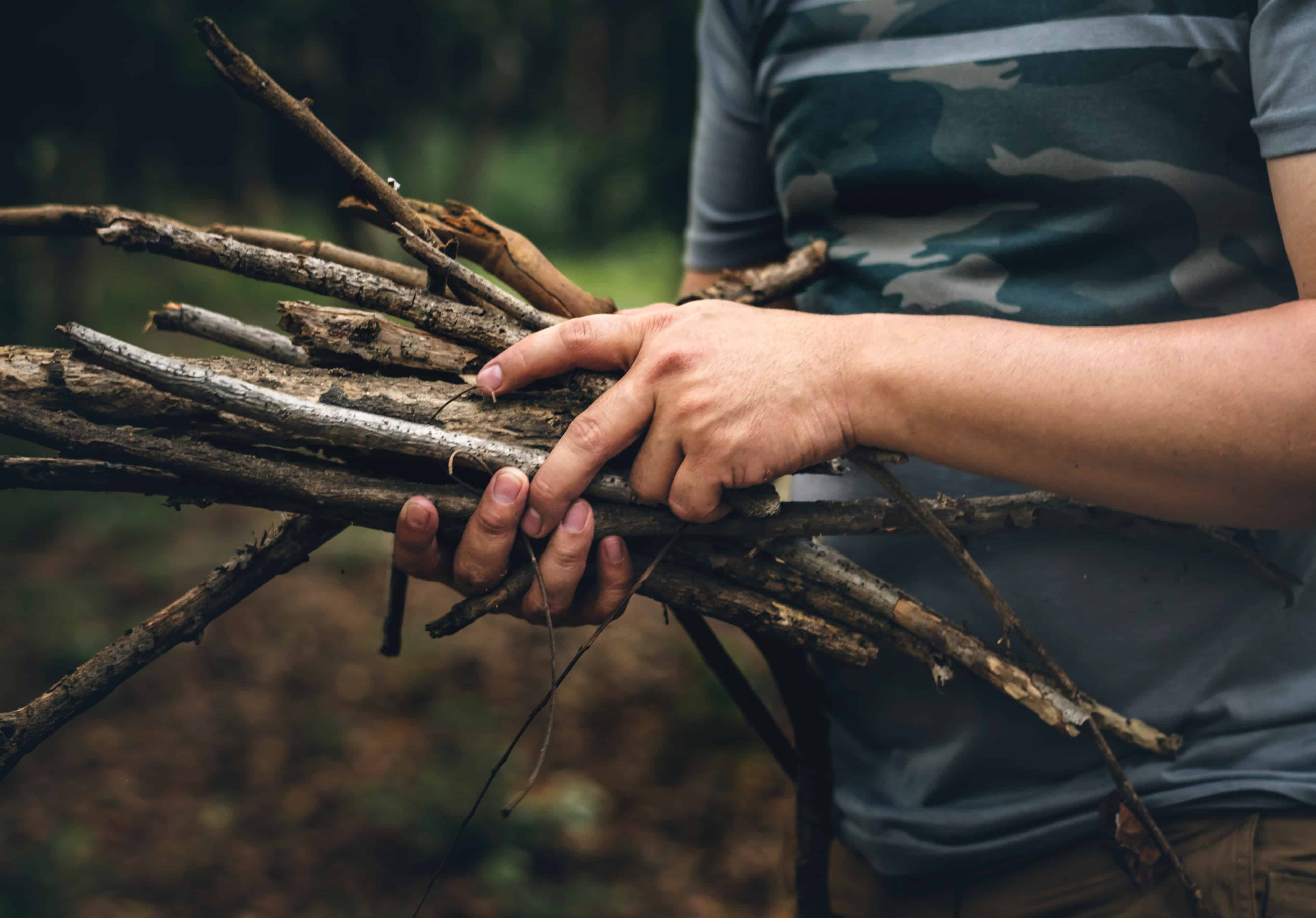 person gathering firewood