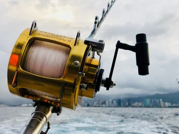 a fishing reel attached on a fishing rod