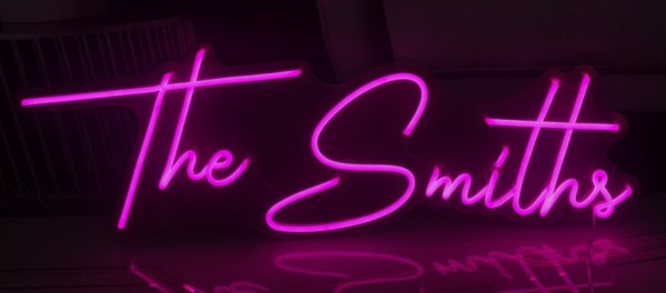 Bright Pink neon surname