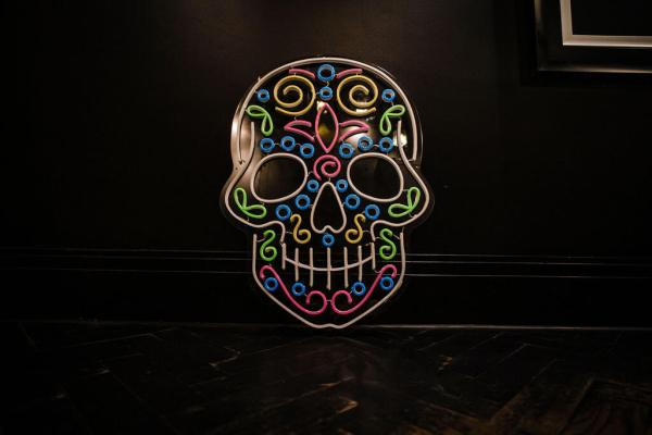 wildfire led sign skull Calavera day of the dead multicolour led sign 3