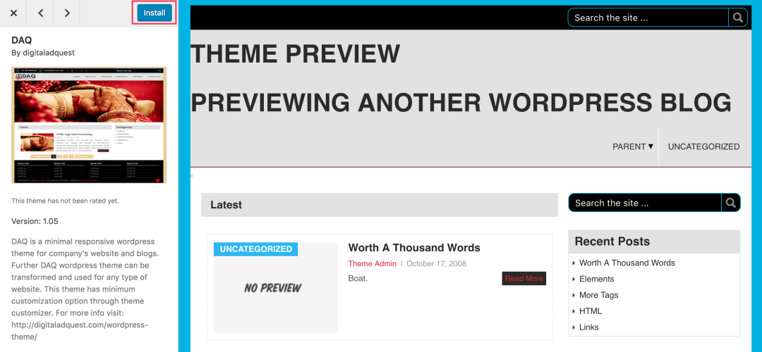 Theme Install from WordPress