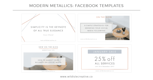 Modern Metallics - Facebook Templates