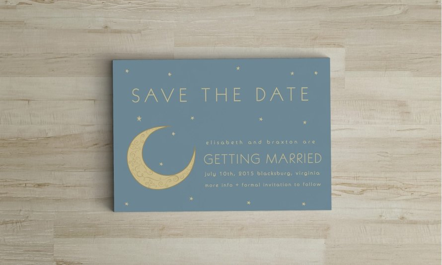 Astronomy wedding invitations by Wild Joy Studios