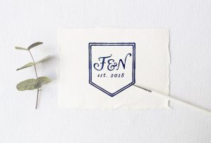 2 Letter Monogram Crest with Date - Wedding logo by Wild Joy Studios