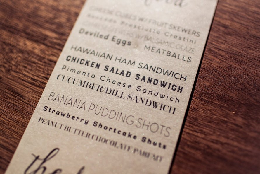 Menu cards on shimmer paper by Wild Joy Studios. Photo by Amaris Photography.