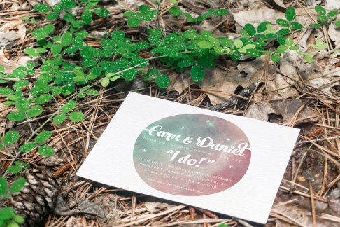 Across the Galaxy Invite - Forest Stationery Mockup 3