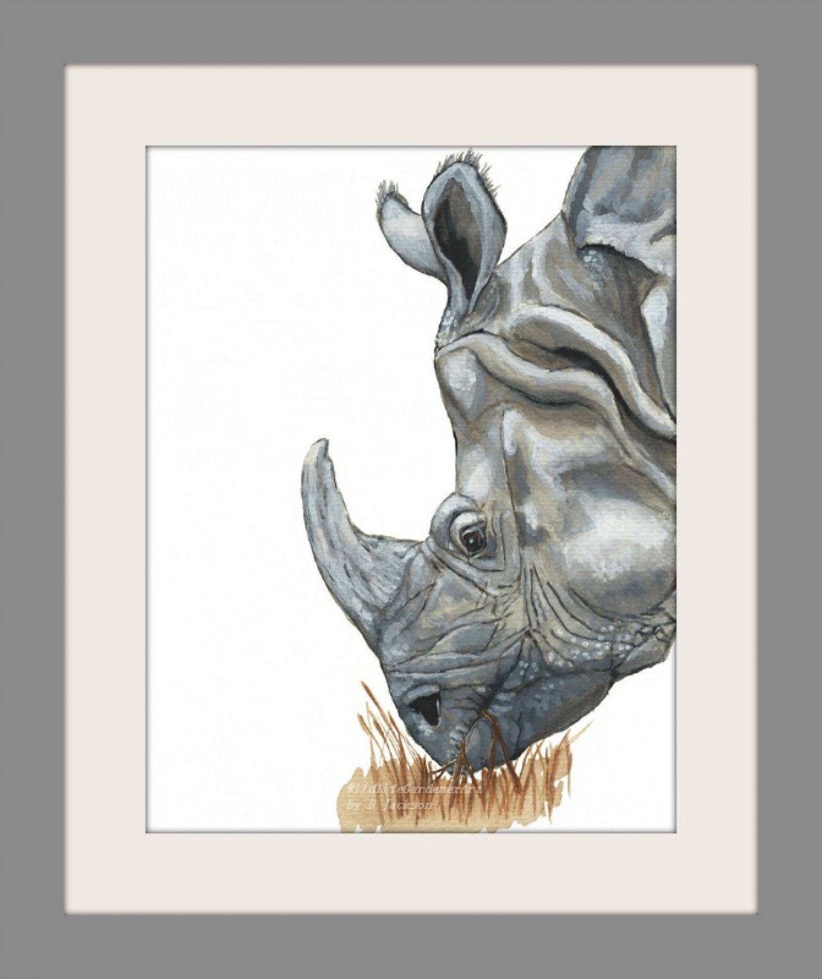 rhino watercolor art print