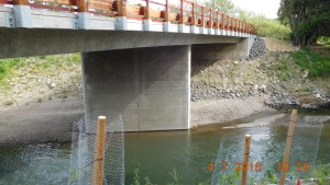 Newly-constructed bridge with night roost habitat incorporated into bridge deck.
