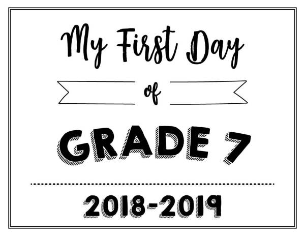 My First Day of Grade 7 Printable - Wildly Anchored