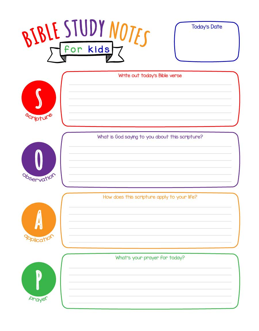 SOAP Bible Study Notes for Kids (Printable) | Wildly ...