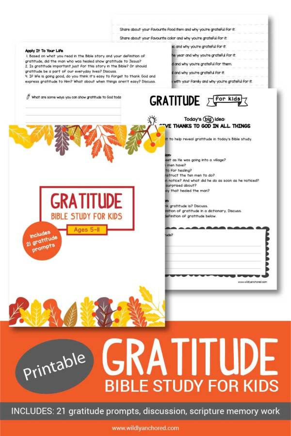 Gratitude Bible Study for Kids Ages 5-11, including 21 gratitude prompts & more!