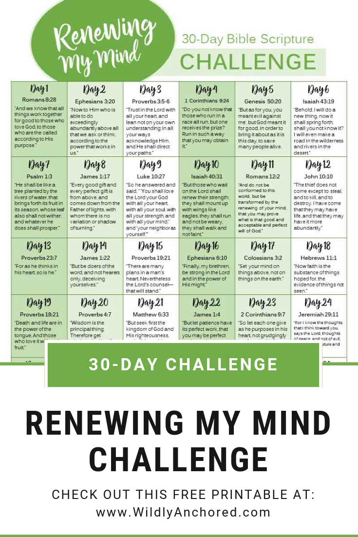 Renewing our minds is a daily challenge as a child of God. Commit to the challenge with this 30-Day Renewing My Mind Bible Scripture Challenge! #Renewingmymind #scripturechallenge #Christianlifestyle