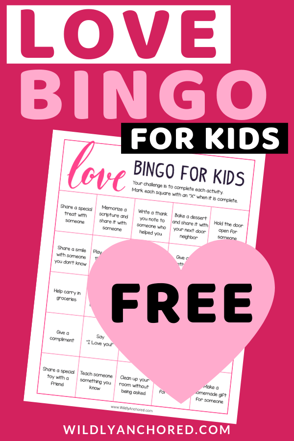 Get your kids showing love to others by serving others. + FREE Love Bingo for Kids printable included. #christianfamily  #bible  #biblestudy  #biblejournaling  #bibleactivities  #biblegames  #biblefun  #bibleverse  #bibleforkids