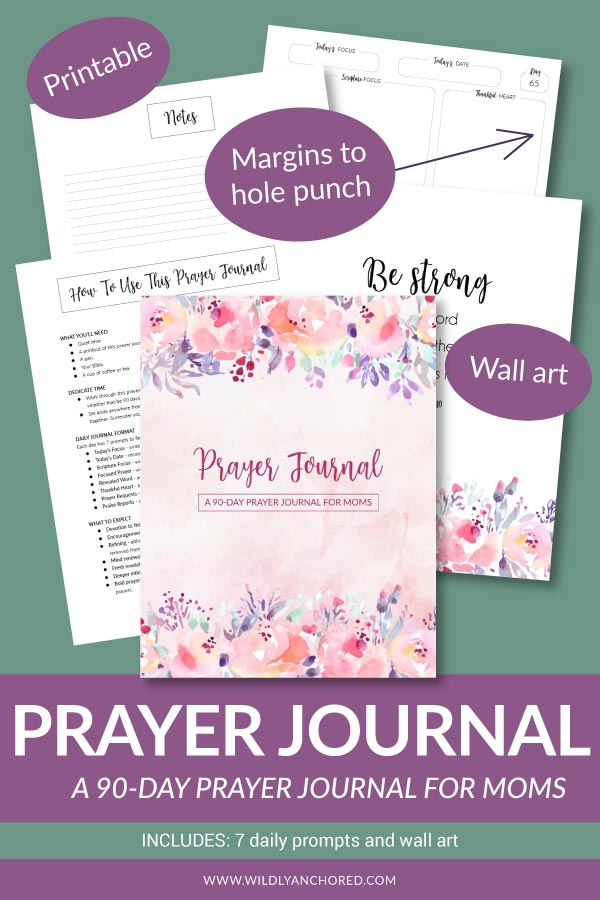A perfect way to dig into your prayer time with the Lord is a printable 90-day prayer journal. Includes seven daily prompts to guide your prayer time. #prayingmom #Christianmom #prayerjournal