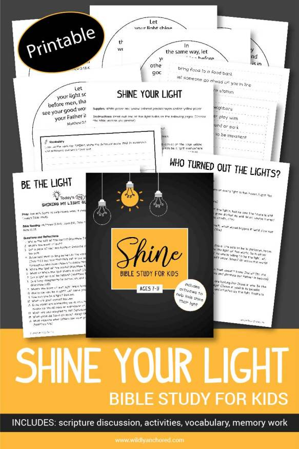 Help your kids shine their light for Jesus with this Shine Your Light Bible Study For Kids!