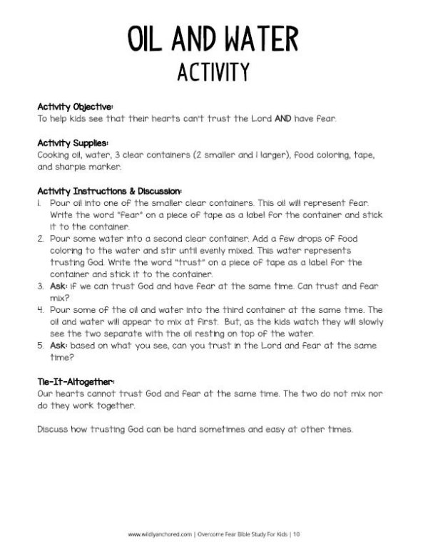 Overcome Fear Bible Study For Kids