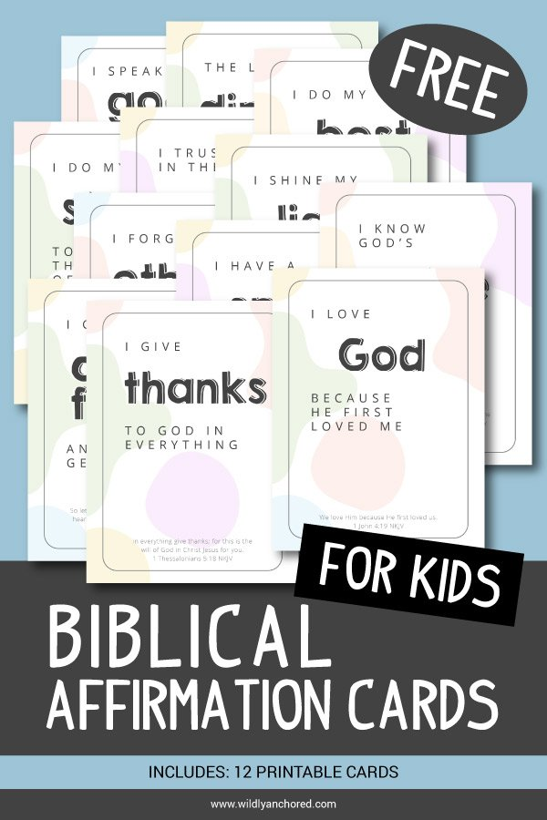 Positive affirmations are not enough. But, Biblical affirmations are! Find out why Biblical affirmations for kids are important.  Includes FREE Printable Biblical Affirmation Cards for Kids!