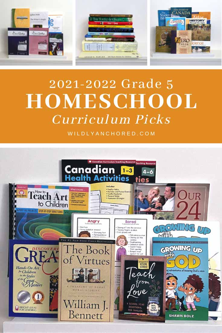 Our 2021-2022 grade 5 homeschool curriculum picks! Includes Saxon Math, BraveWriter, All About Learning, Mystery of History, etc.