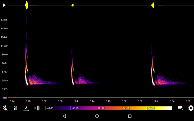 Screenshot of the Bat Recorder app on an Android phone.