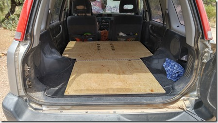 The plywood platform in place. & How I converted my Honda CR-V into a camper - Wild Mountain Echoes