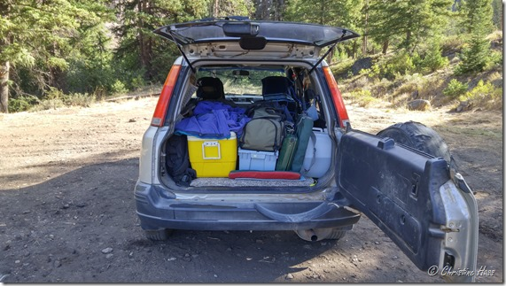 The CR-V packed for a two-week trip.